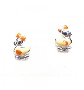 Πάπιες Παιδικά Σκουλαρίκια Λευκόχρυσο 14 K