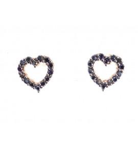 Καρδιές Γυναικεία Σκουλαρίκια Ρόζ Χρυσό 9 K