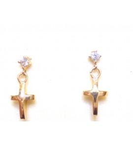 """""""Σταυροί"""" (Κρεμαστά) Γυναικεία Σκουλαρίκια Ρόζ Χρυσό 14 K"""