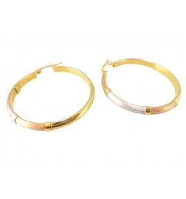 Γυναικείοι Κρίκοι Δίχρωμο Χρυσό 14 K